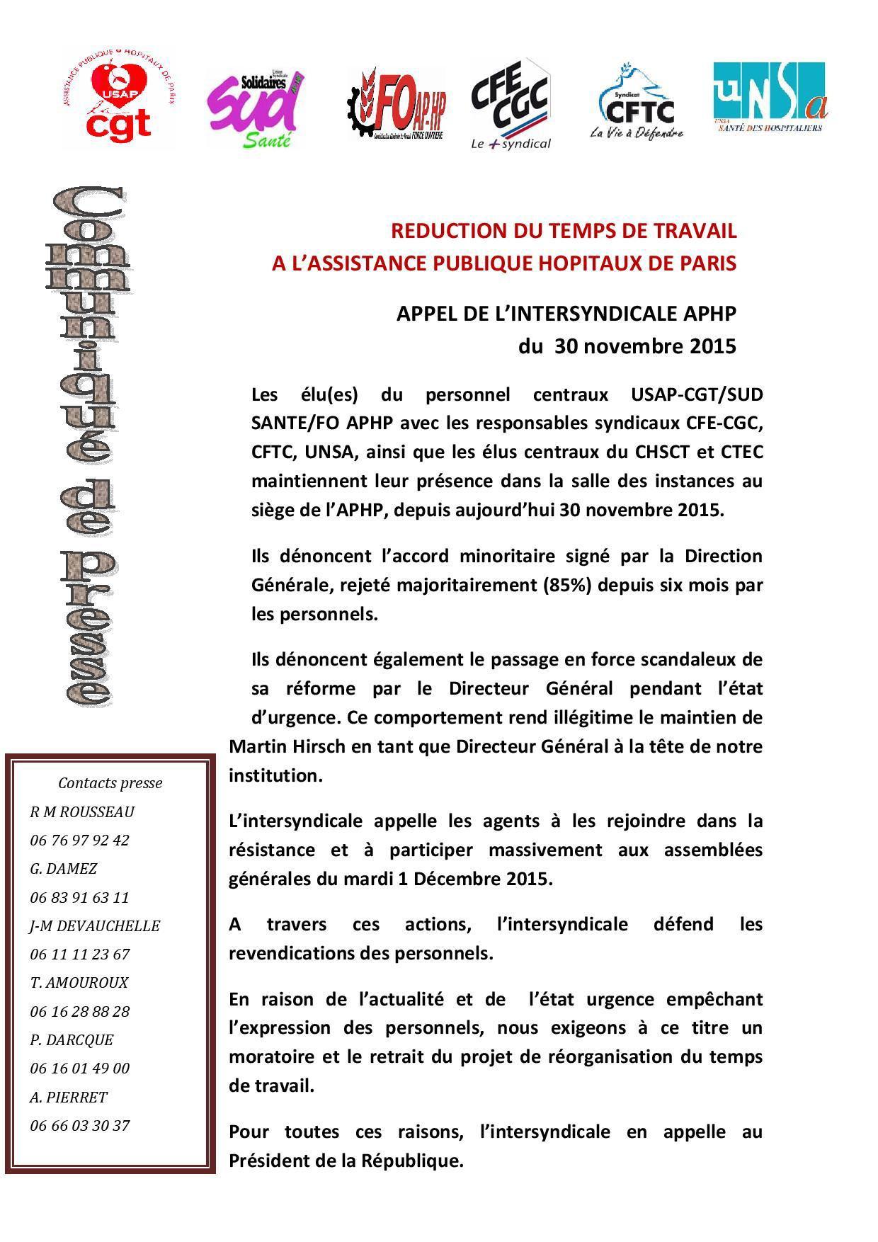 communiqué de presse intersyndical du 30 novembre 2015-page-001