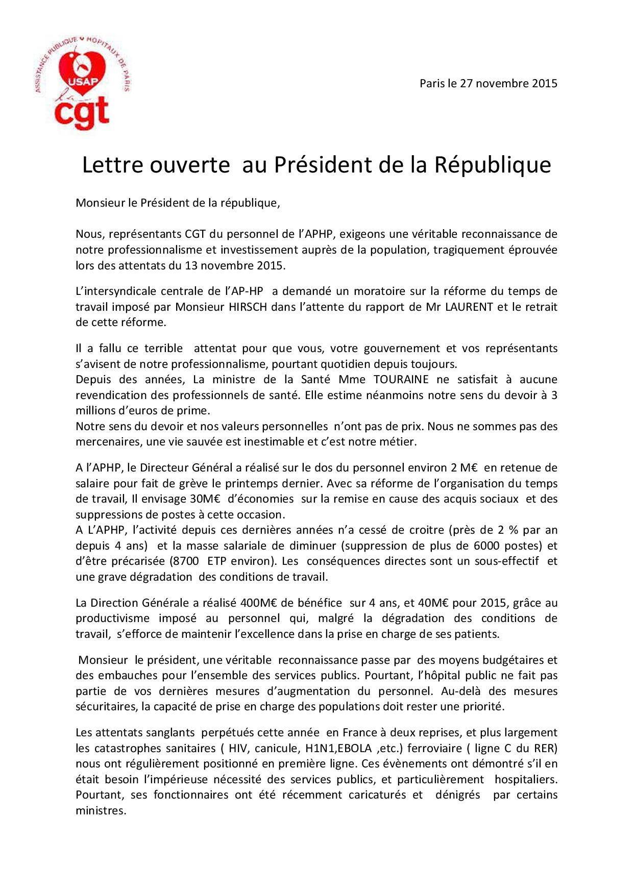 lettre ouverte USAP CGT au Président de la République-page-001
